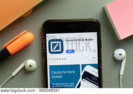 New York, United States - 7 November 2020: Deutsche Bank Mobile App Store Logo On Phone Screen, Illu