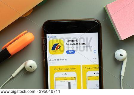 New York, United States - 7 November 2020: Postbank Finanzassistent App Store Logo On Phone Screen,