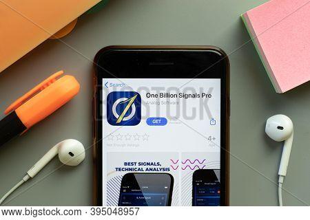 New York, United States - 7 November 2020: One Billion Signals Pro App Store Logo On Phone Screen, I