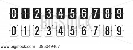 Countdown Clock Counter Timer. Vector Icon On White Background.. Collection Of Mechanical Flip Count