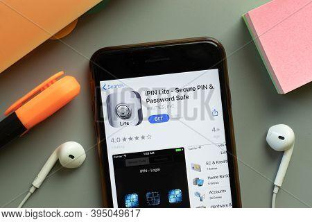 New York, United States - 7 November 2020: Ipin Lite Password Safe App Store Logo On Phone Screen, I