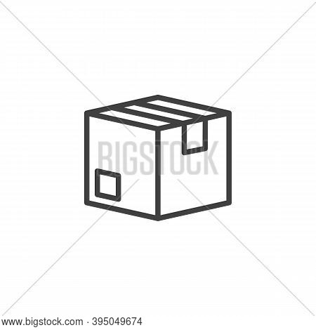 Cardboard Box, Parcel Line Icon. Linear Style Sign For Mobile Concept And Web Design. Delivery Box O