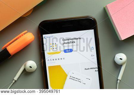 New York, United States - 7 November 2020: Commerzbank Phototan App Store Logo On Phone Screen, Illu
