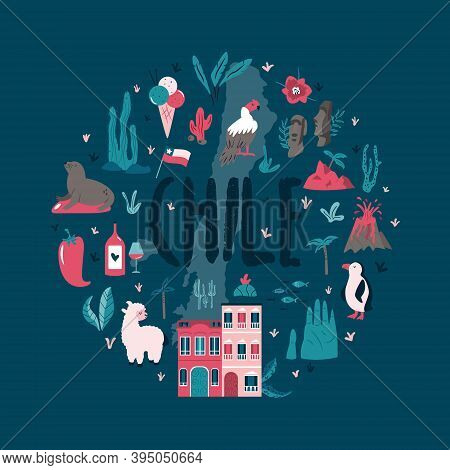 Abstract Circle Design With Landmarks And Symbols Of Chile And Easter Island.