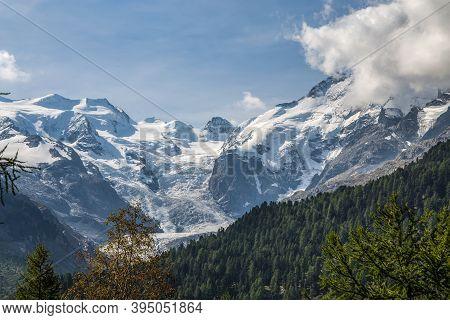 View Of Morteratsch Glacier, The Largest Glacier Of The Bernina Massif In Switzerland.