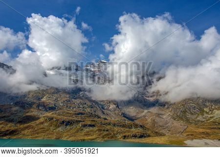 View Of Bernina Massif,  A Mountain Massif In The Western Rhaetian Alps, Located On The Border Betwe