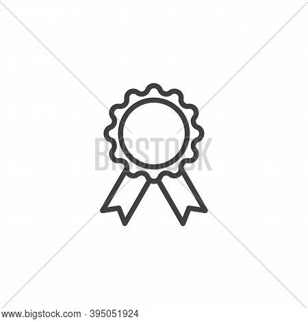 Award Medal Line Icon. Linear Style Sign For Mobile Concept And Web Design. Rosette Badge With Ribbo