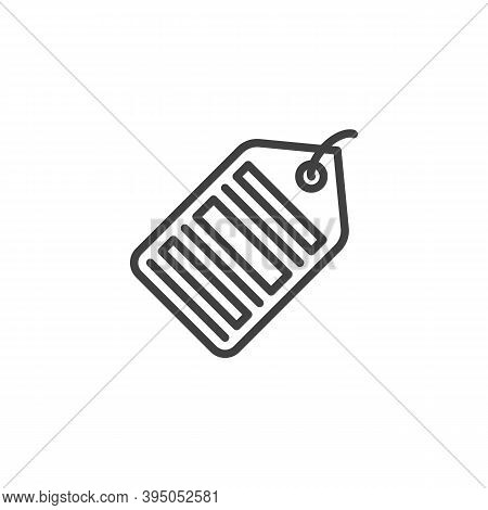 Barcode Price Tag Line Icon. Linear Style Sign For Mobile Concept And Web Design. Shopping Label Wit