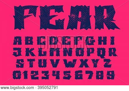 Alphabet And Numbers Set In Horror Style With Grunge Texture. Vector Font Template For Your Scary Co
