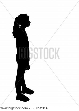 Silhouette Of Girl Side View. Illustration Graphics Icon Vector