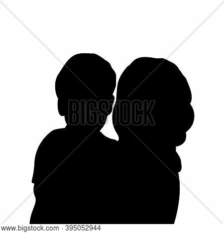 Silhouette Mom With Baby Closeup. Illustration Graphics Icon Vector