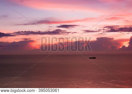 View From Koh Larn Island Overlooking The Gulf Of Thailand During Sunset Time With A Beautiful Color