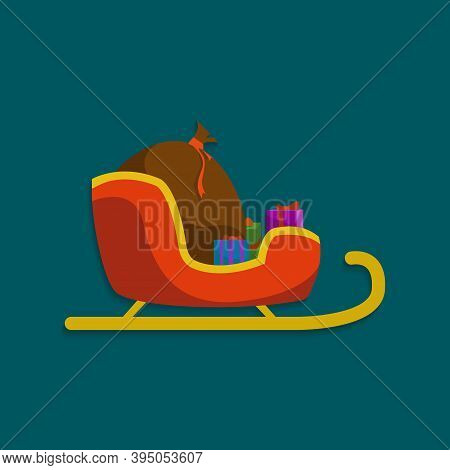 Santa Sleigh With Gifts Flat Icon. Christmas Sledge Vector Illustration Isolated On White. Sleigh Wi