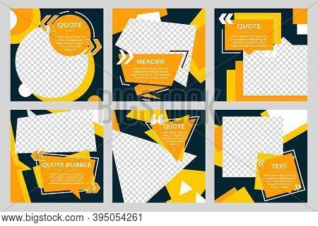 Social Media Post Template. Modern Frame Concept, Creative Promo Square Banner. Editable Discount Sa