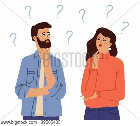 Couple Thinking. Confused People, Doubt Girl Man With Question Marks. Cartoon Questionable Person, T