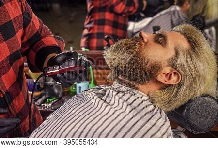 Hairdresser Salon. Man At Barbershop. Professional Barber And Client. Barber Is Essential Resource F