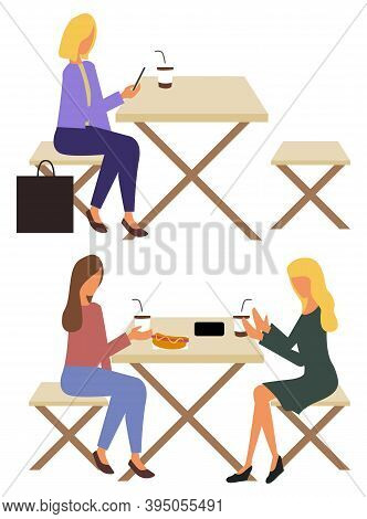 Women Friends Eating Street Food Vector, Wooden Benches Eatery. Character Drinking Coffee With Hot D