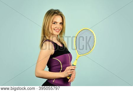 Squash Game. Racquet Sports. Tennis Club. Smiling Athletic Girl Hold Tennis Racket. In Pursuit Of Go