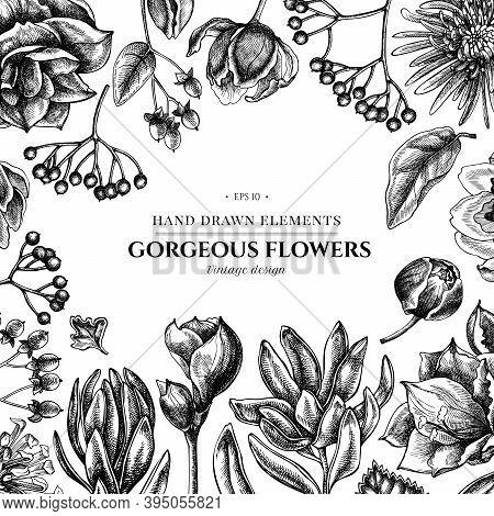 Floral Design With Black And White Viburnum, Hypericum, Tulip, Aster, Leucadendron, Amaryllis Stock