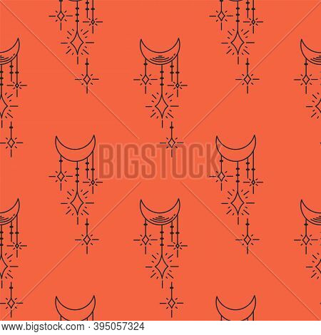Mystical Background Texture. Red Background With Crescent Moons And Stars. Background Concept: Ethno