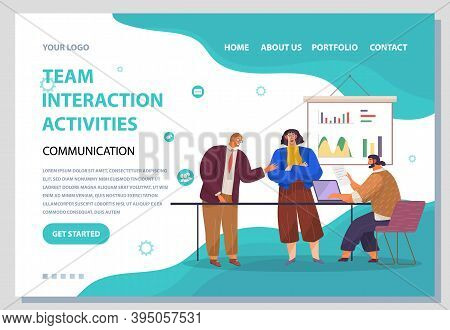 Landing Page Team Interaction Activities Site. Red-haired Man Stands And Tells Sth, Girl Crossed Her