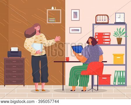 Office Workers, Boss And Subordinate. Woman Stand, Speaks And Holds Document, Girl At Table With Tab