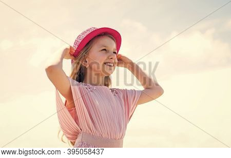Stylish Fashion Child Baby Girl Kid Outdoor. Stylish Cute Child Posing In Spring. Summer Fun And Lei