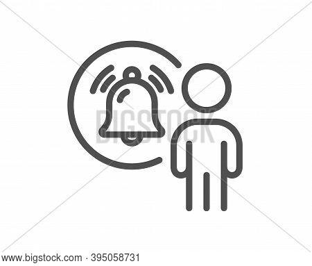 User Notification Line Icon. Alarm Bell Reminder Sign. Message Alert Symbol. Quality Design Element.
