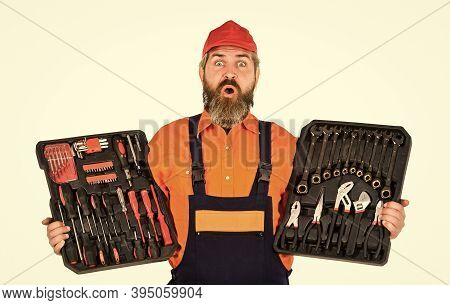 Dream Of Handyman. Set Of Tools. Screwdrivers Set. Man Carries Toolbox White Background. Worker Repa