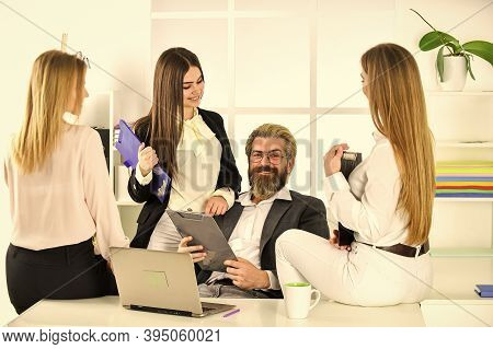 Flirting With Boss. Man And Women Business Colleagues. They Love Their Boss. Office Flirt. Career Co