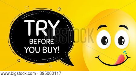 Try Before You Buy. Easter Egg With Yummy Smile Face. Special Offer Price Sign. Advertising Discount