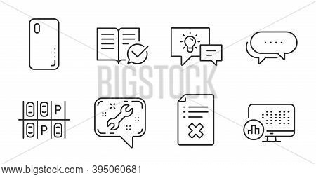 Spanner, Report Statistics And Smartphone Cover Line Icons Set. Parking Place, Dots Message And Appr