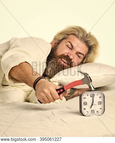 Man Awake Unhappy With Alarm Clock Ring. Sleep Longer. Sleep Paralysis Can Also Occur When You Are I