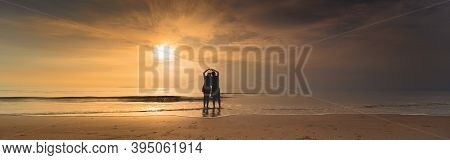 Web Banner Silhouette Asian Couple Hug And Holding Hand With Happiness And Joyful From Honeymoon Act