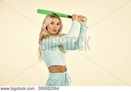 Sport And Sportswear Fashion. Woman With Baseball Bat. I Am A Criminal. Outdoor Sport Activity. Full
