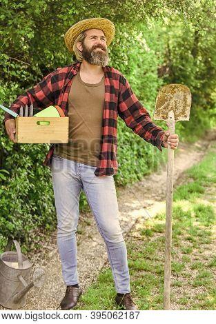 Man Gardening In His Garden. I Work In The Spring Garden. Digging Spring Soil With A Shovel. Man Gar