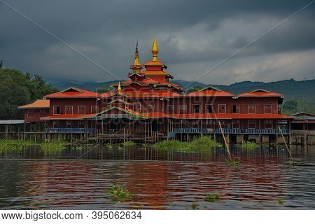 Ywama. Myanmar. November 29, 2016. The Architecture Of The Settlements On The River Saw Between Lake