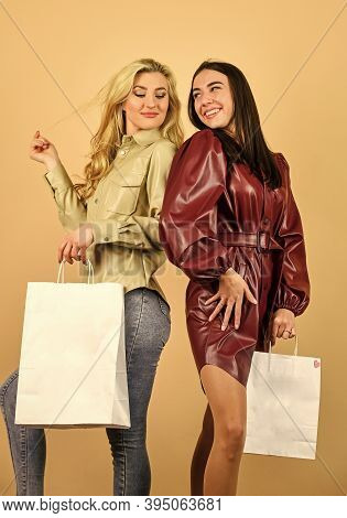 Fun And Gifts. Black Friday. Women In Spring Jacket. Girls Shopping. Shopping Mall. Luxury Boutique.