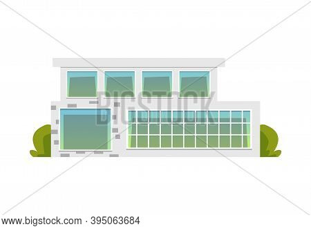 Luxury Modern Suburban House Or Villa Flat Vector Illustration Isolated.