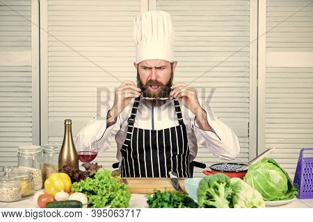 Culinary Is Exciting. Chef Handsome Hipster. Get Ready. Man Bearded Chef Getting Ready Cooking Delic