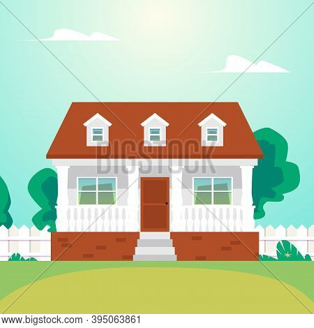 Cozy Residential Suburban House With Garden A Vector Flat Illustration