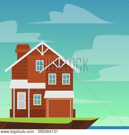 Two-storey Suburban Residential House With Garage A Vector Illustration