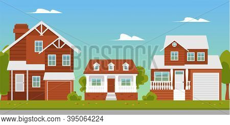 Suburban Landscape With Buildings Or Country Cottages Flat Vector Illustration.