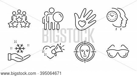 Face Detect, Love Message And Time Management Line Icons Set. Business Meeting, Eyeglasses And Socia