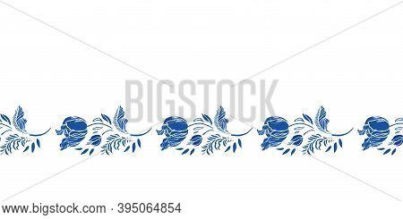 Retro Blue Antique Porcelain Floral Tulip Border. Vintage Kitchen. Hand Drawn Botany Floral Garland.