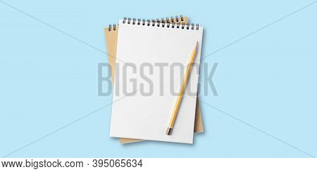 Open Notepad On Blue Background, Spiral Notepad On Table, To Do List, Flat Lay Pencil With Notebook