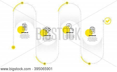Search Text, Passport And Payment Line Icons Set. Timeline Process Infograph. Vip Internet Sign. Fin
