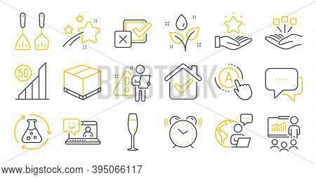 Set Of Business Icons, Such As Smile, Alarm Clock, 5g Wifi Symbols. Champagne Glass, Delivery Box, C