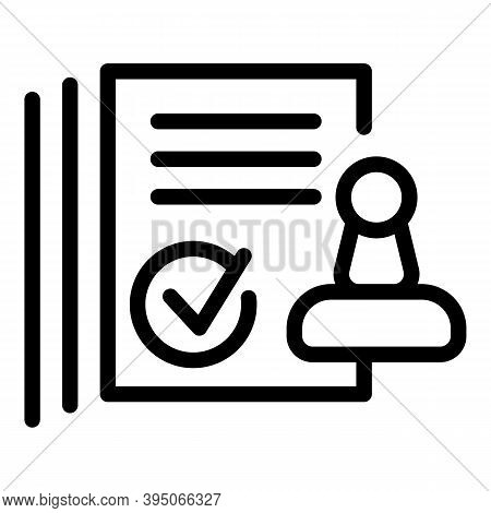 Approved Stamp Paper Icon. Outline Approved Stamp Paper Vector Icon For Web Design Isolated On White