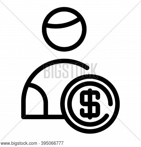Dollar Holder Icon. Outline Dollar Holder Vector Icon For Web Design Isolated On White Background